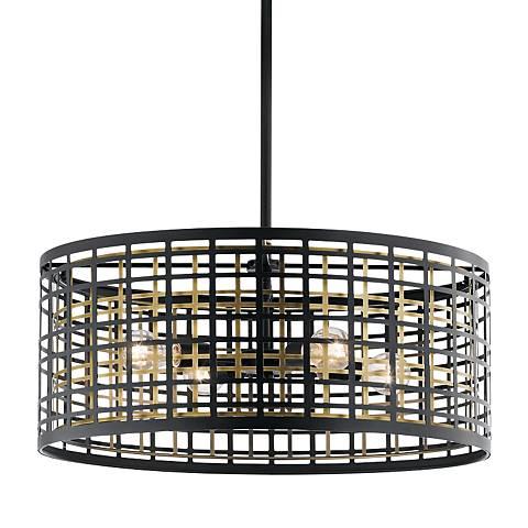 "Kichler Aldergate 24"" Wide Black 4-Light Round Pendant"