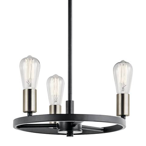 "Kichler Brooklyn 14"" Wide Matte Black 3-Light Chandelier"