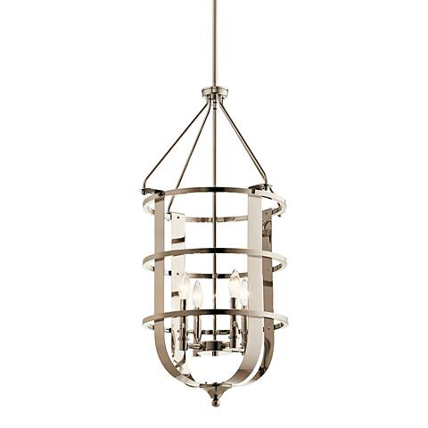"Kichler Chatham 18""W Polished Nickel 4-Light Foyer Pendant"