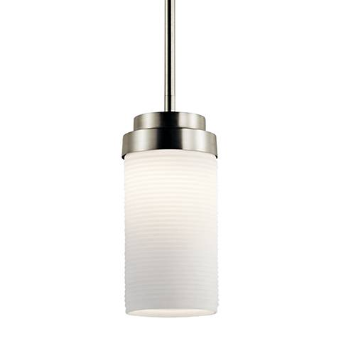 "Kichler Akai 4"" Wide Brushed Nickel LED Mini Pendant"