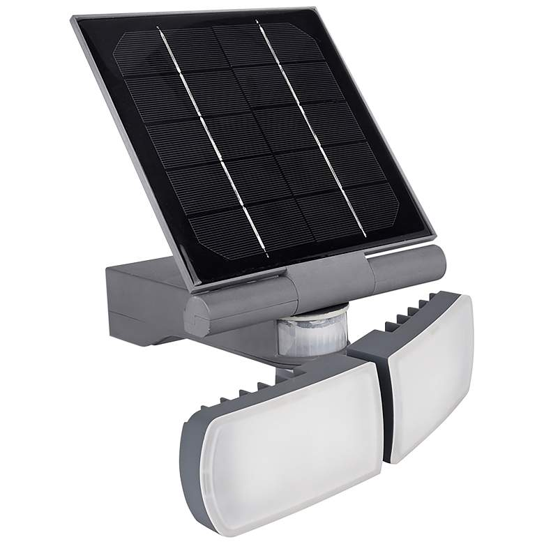 "Pacific Accents 10""H Gray Solar LED Outdoor Flood Light"