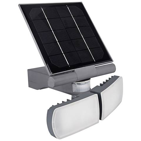 """Pacific Accents 10""""H Gray Solar LED Outdoor Flood Light"""