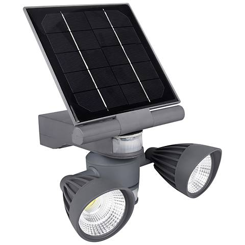 "Pacific Accents 9"" High Gray Solar LED Outdoor Flood Light"