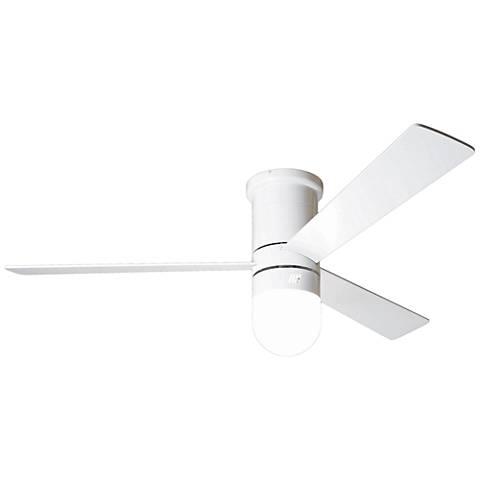 """50"""" Modern Fan Cirrus Flush White Hugger LED Ceiling Fan"""