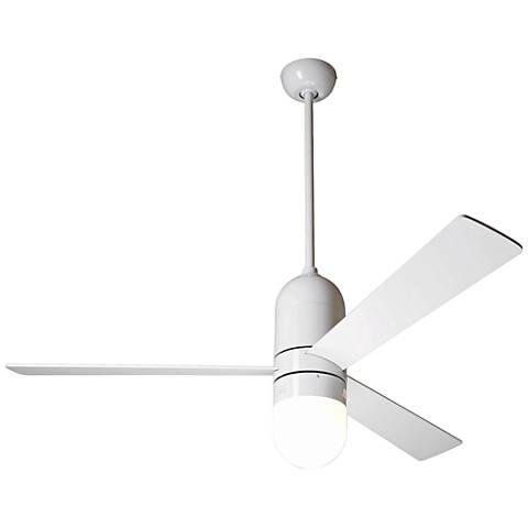 """50"""" Modern Fan Cirrus Gloss White LED Ceiling Fan"""