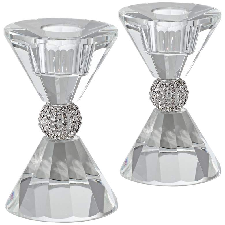 """Stasia 4"""" High Crystal Candle Holders Set of 2"""