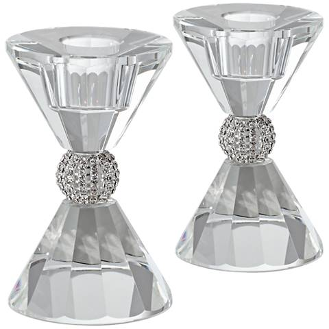 "Stasia 4""H Crystal with Silver Taper Candle Holder Set of 2"