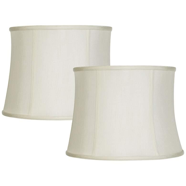 Set of 2 Creme White Lamp Shades 14x16x12 (Spider)