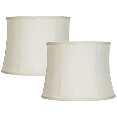 Set of 2 Creme White Lamp Shades 14x16x12 (Spider)