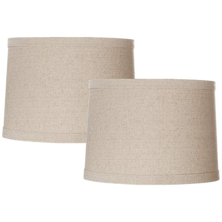 Set of 2 Natural Linen Drum Shades 13x14x10 (Spider)