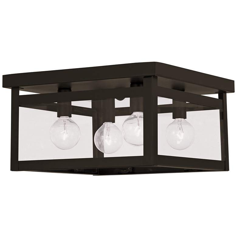 "Milford 11"" Wide Brze and Glass 4-Light Sq Ceiling Light"