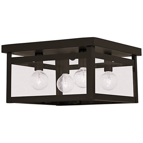 """Milford 11"""" Wide Bronze and Glass 4-Light Square Ceiling Light"""