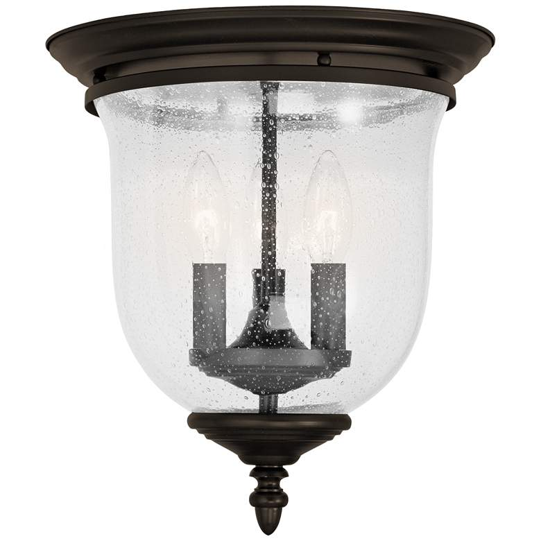 "Legacy 11 1/2""W Bronze Seeded Glass 3-Light Ceiling Light"