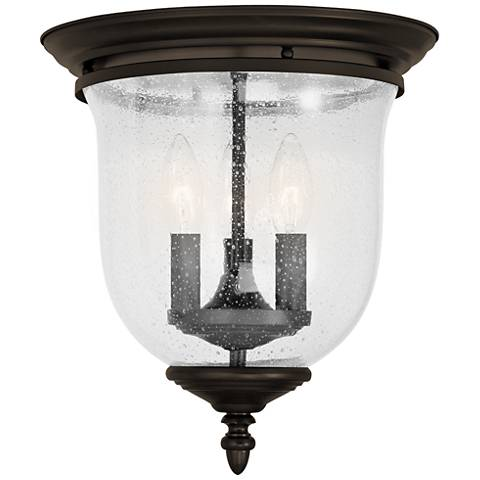 "Legacy 11 1/2"" Wide Bronze Seeded Glass 3-Light Ceiling Light"