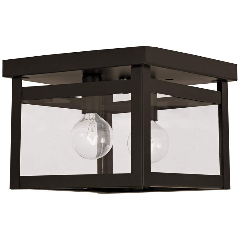 """Milford 8"""" Wide Bronze and Clear Glass 2-Light Ceiling Light"""
