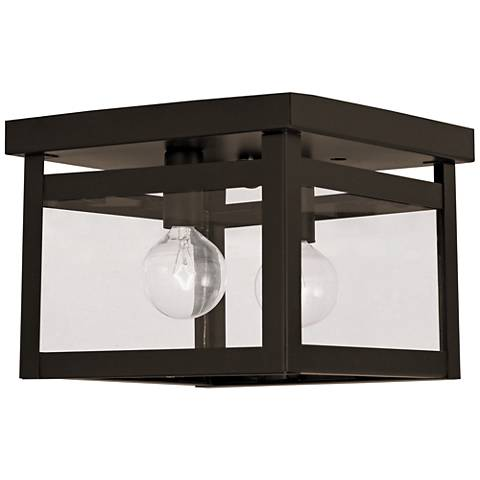 "Milford 8"" Wide Bronze and Clear Glass 2-Light Ceiling Light"
