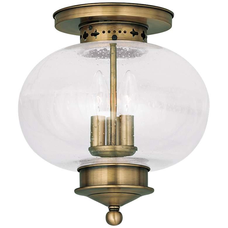 "Harbor 11"" Wide Antique Brass 3-Light Ceiling Light"