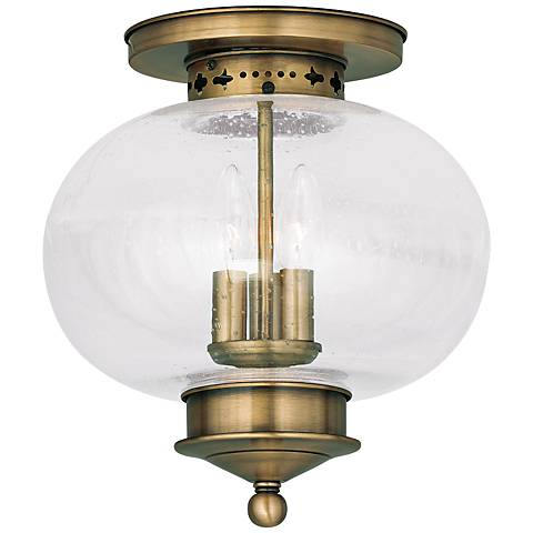 "Harbor 11"" Wide Antique Brass 3-Light Ceiling Light"