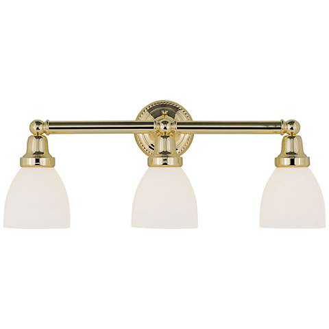 "Classic 24 1/4"" Wide Polished Brass 3-Light Bath Light"