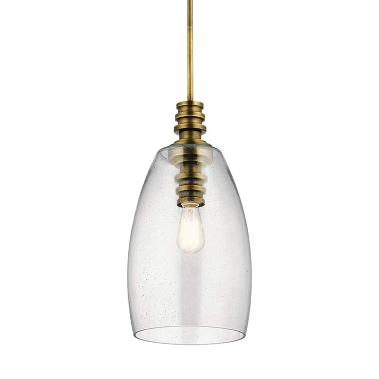 "Kichler Lakum 10"" Wide Natural Brass Mini Pendant"