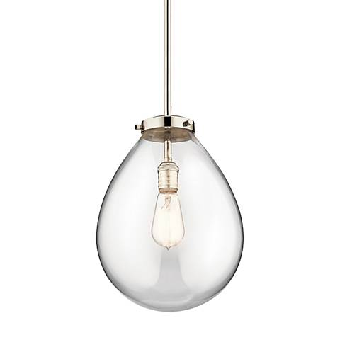 "Kichler Claudia 14"" Wide Polished Nickel Pendant Light"