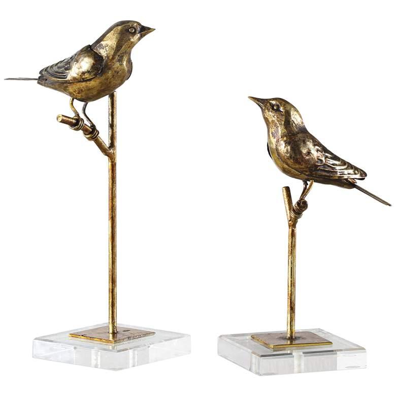 Passerines Antique Gold Leaf Bird Figurines - Set of 2