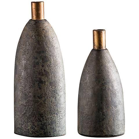 Uttermost Kasen Textured Charcoal 2-Piece Vase Set