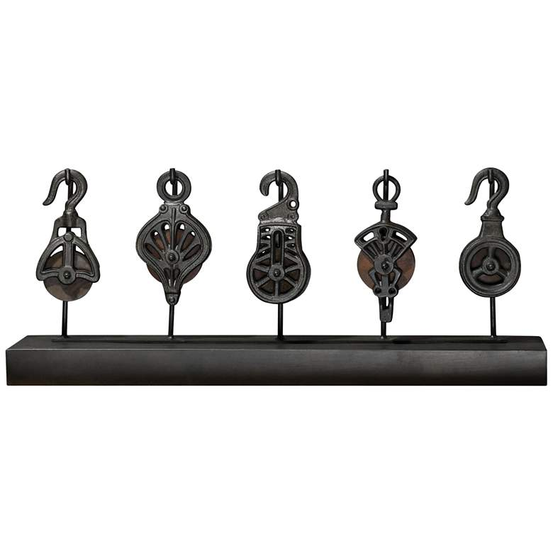 """Uttermost Pulley System 30"""" Wide Cast Iron Sculpture"""