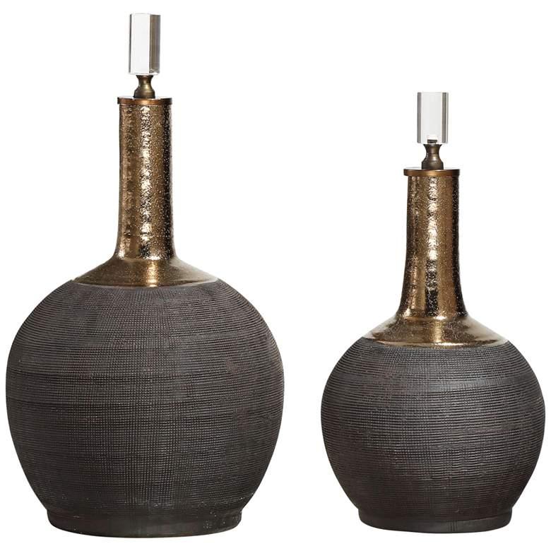Arnav Matte Black Hand-Scored 2-Piece Decorative Bottle Set