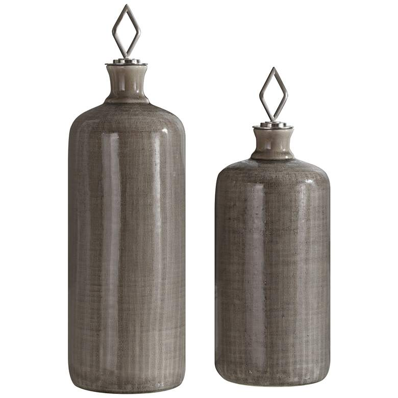 Dhara Light Taupe Glaze Decorative Bottles - Set of 2