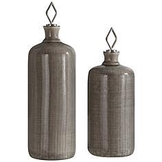 Dhara Light Taupe Glaze 2-Piece Decorative Bottle Set