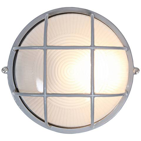 "Nauticus 7"" Wide Satin Steel Round Outdoor Wall Light"