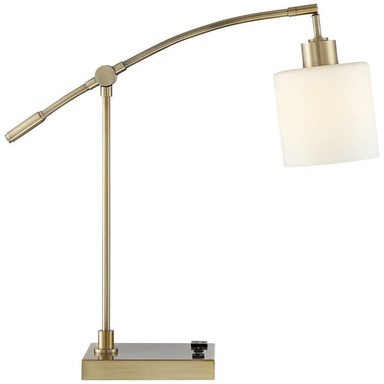 Kipling Modern Desk Lamp with Outlet and USB Port