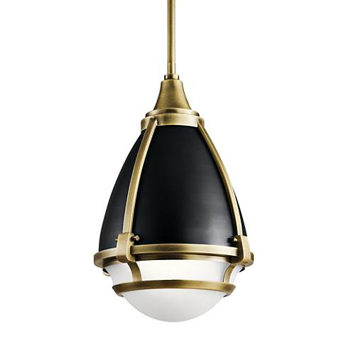 "Kichler Ayra 10"" Wide Natural Brass Mini Pendant"