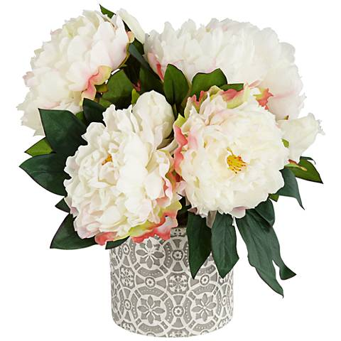 "White Peonies 15"" Wide Faux Flowers in Ceramic Vase"
