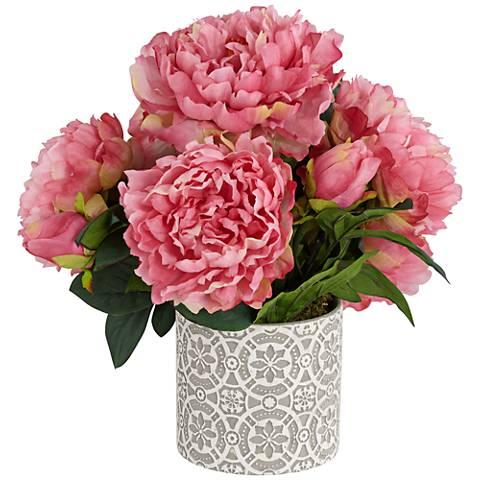 "Pink Peonies 15"" W Faux Floral Arrangement in Ceramic Vase"