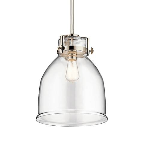 "Briar 12"" Wide Polished Nickel Mini Pendant with Bell Shade"