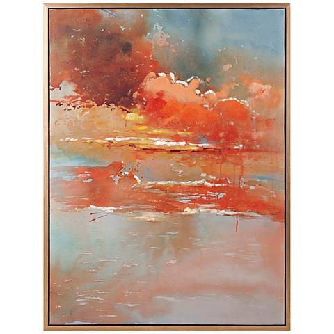 "Messer 47 1/4"" High Oil Painting Framed Canvas Wall Art"