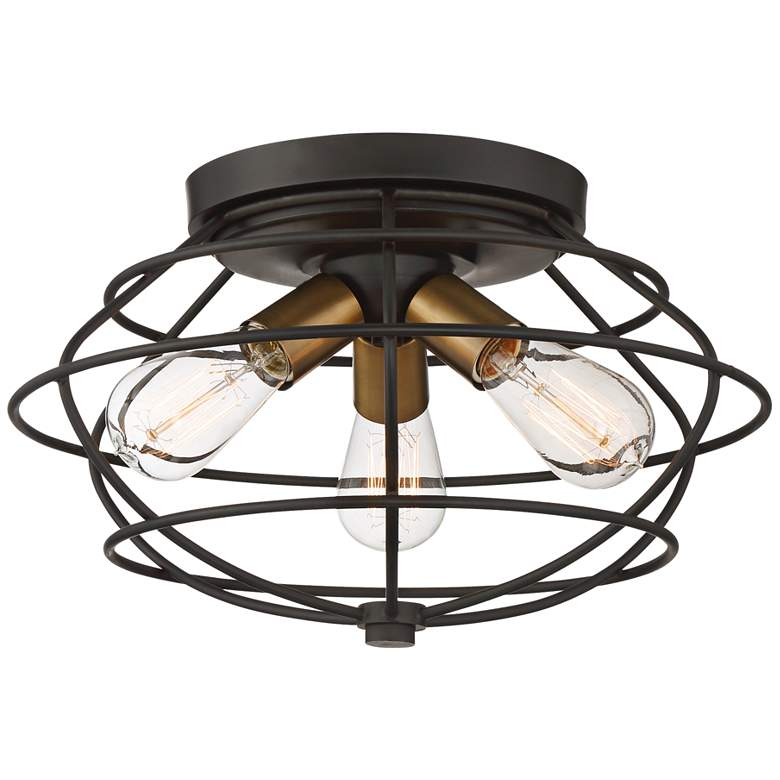 "Jax 15"" Wide Vintage Bronze 3-Light Ceiling Light"