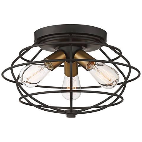 "Jax 15"" Wide Vintage Bronze 3-Light Ceiling Light"