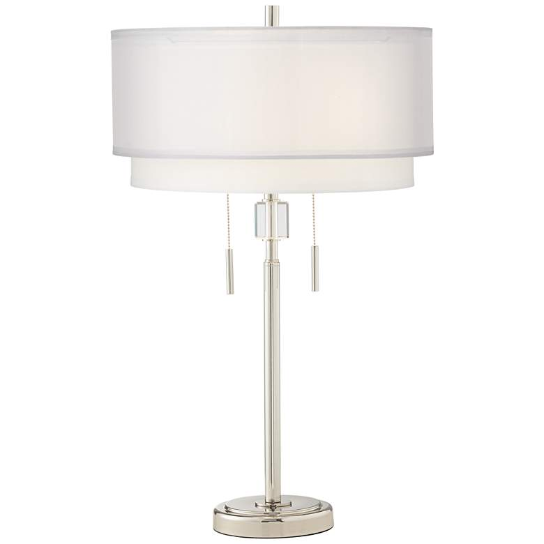 Claire Polished Nickel 2 Light Modern Table Lamp