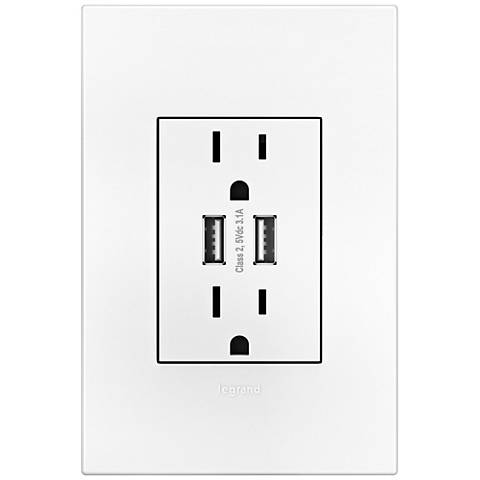 Adorne 15A Duplex Outlet with Dual USB Outlet With Plate