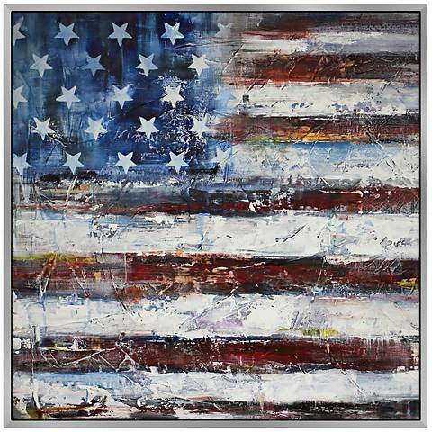"Old Glory 40"" Square Framed Canvas Wall Art"