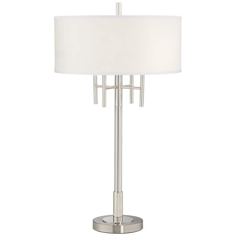 Kathy Ireland Modern Classic Matt Brushed Nickel Table Lamp