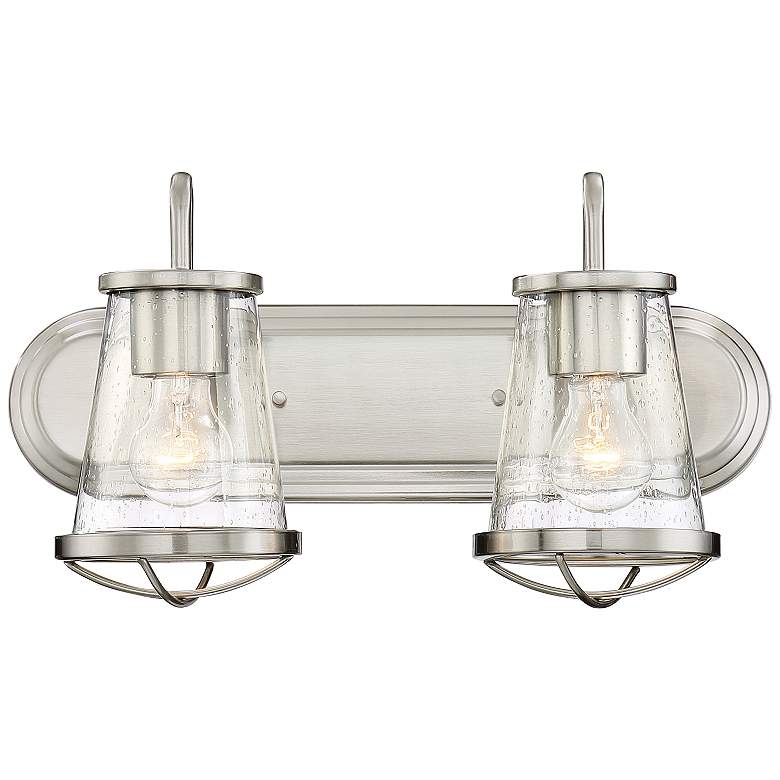 "Darby 9 3/4"" High Satin Platinum 2-Light Wall Sconce"