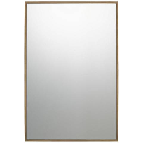 "Quoizel Lockport Antique Brass 24"" x 36"" Wall Mirror"