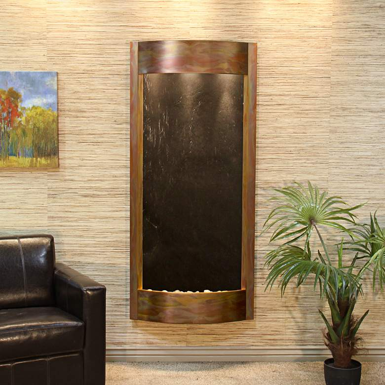 """Pacifica Waters 69""""H Copper and Black Stone Wall Fountain"""