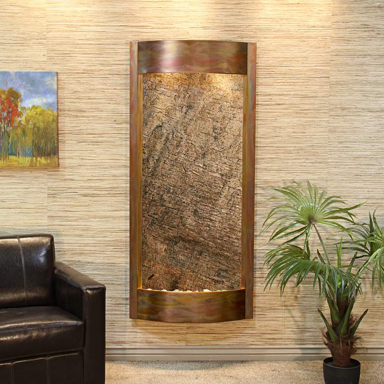 """Pacifica Waters 69""""H Copper and Green Stone Wall Fountain"""