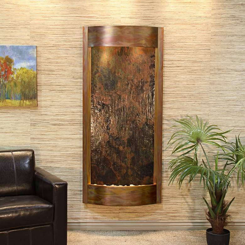 """Pacifica Waters 69""""H Multi-Color Stone Copper Wall Fountain"""