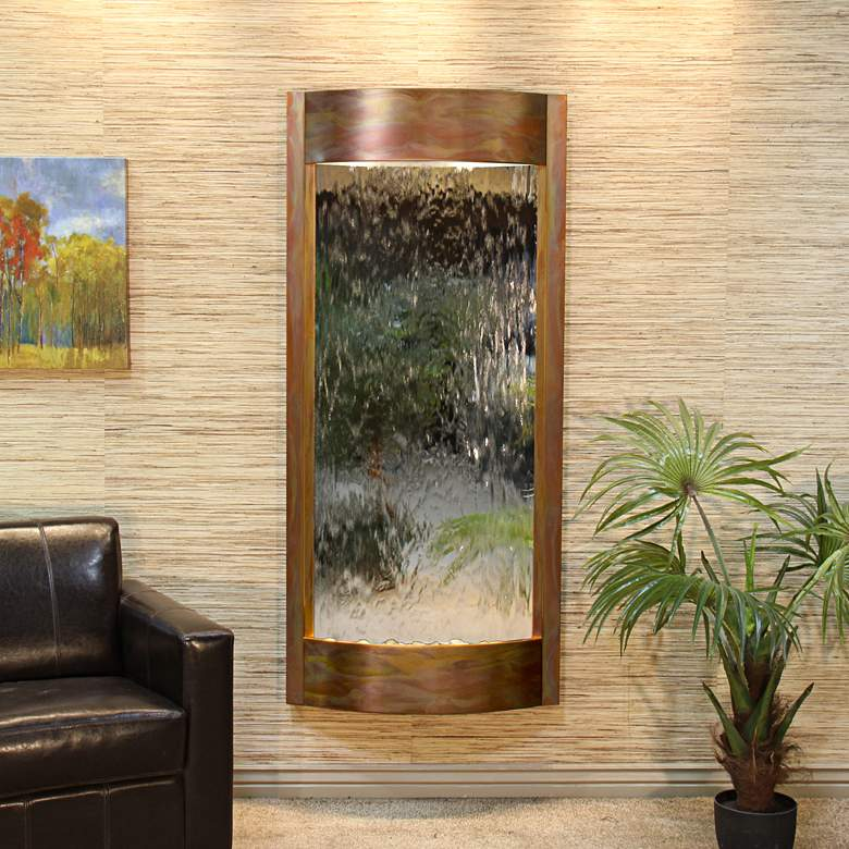 """Pacifica Waters 69""""H Copper and Silver Mirror Wall Fountain"""